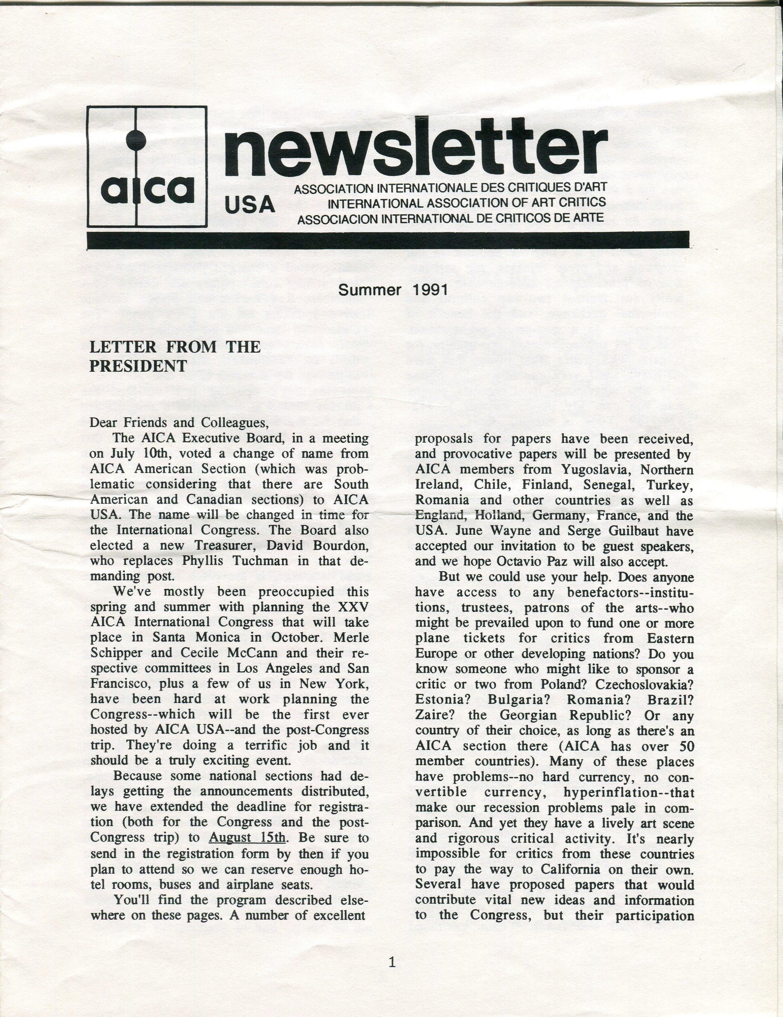 Newsletter AICA USA , été 1991, fonds AICA International [FR ACA AICAI THE CON047 3/8], collection INHA - Archives de la critique d'art.