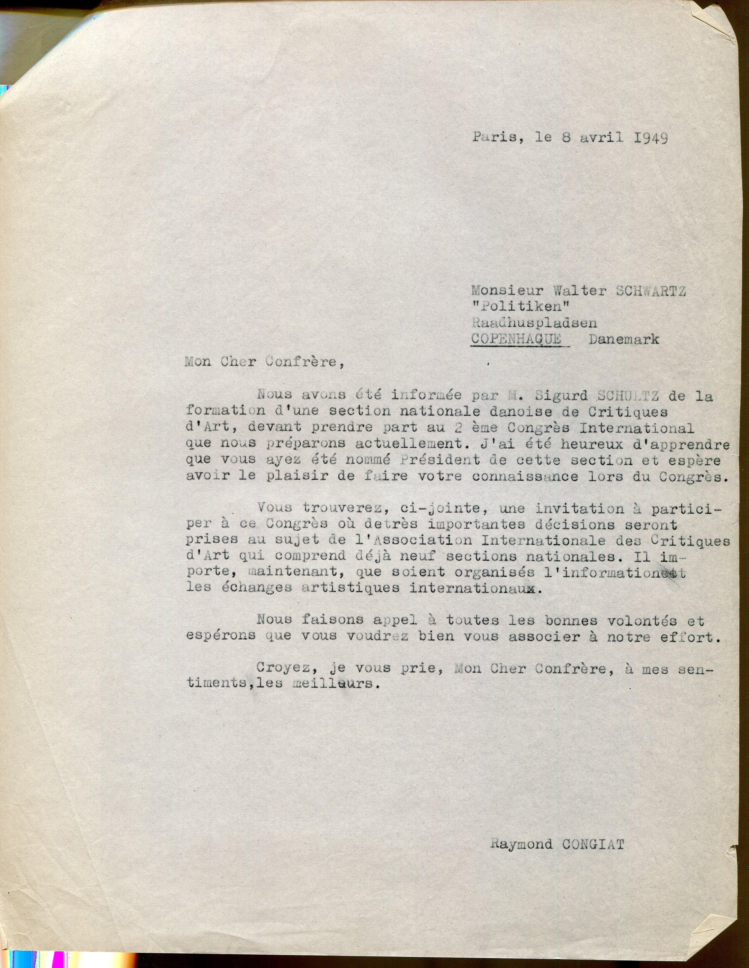 Lettre de Raymond Cogniat à Walter Schwartz, Paris, 8 avril 1949, AICA International [FR ACA AICAI THE ADM008 06/32], collection INHA – Archives de la critique d'art. D.R.