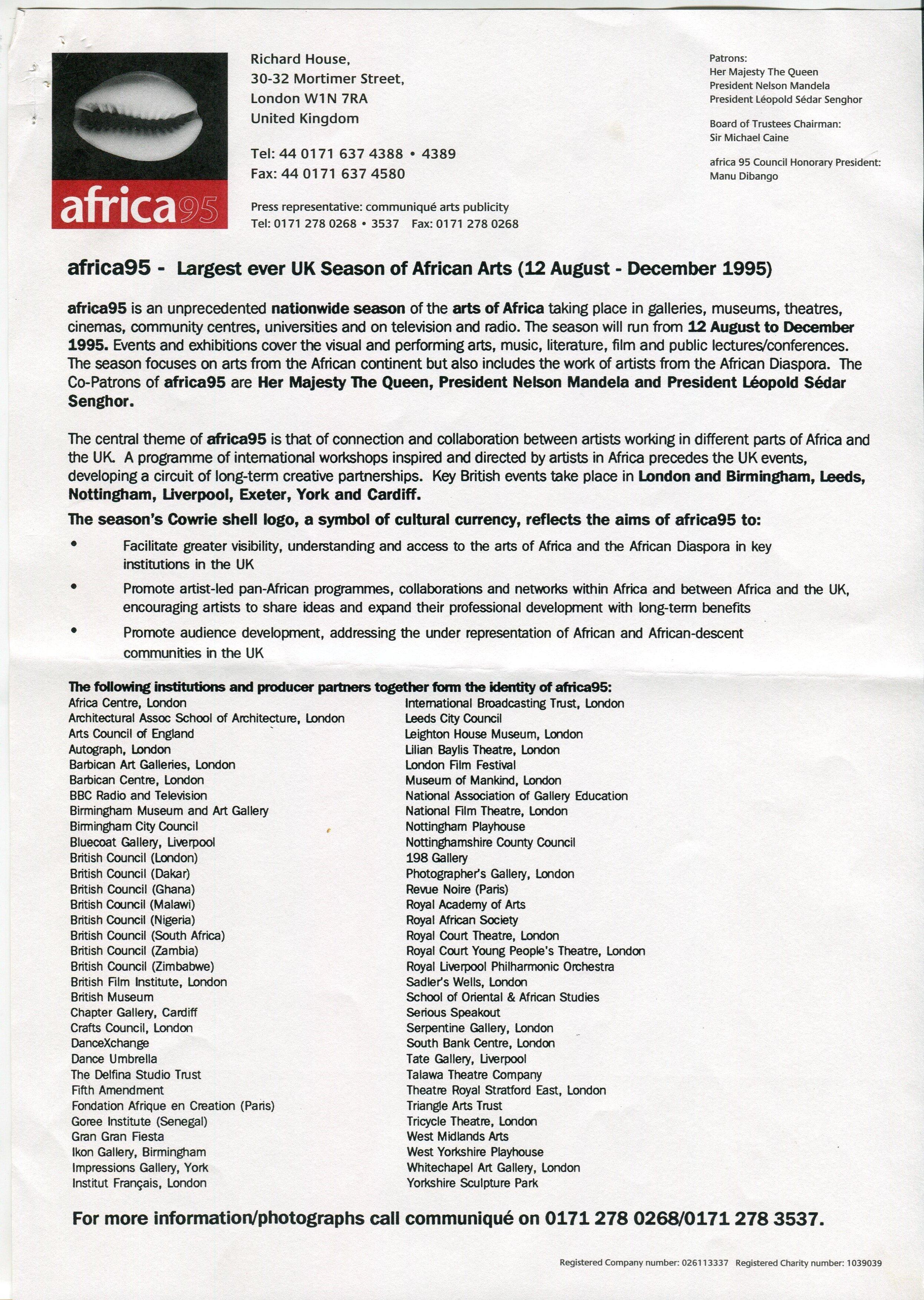 Programme de africa95, Londres, 12 août-décembre 1995, fonds AICA International [FR ACA AICAI THE ADM008 24/3], collection INHA – Archives de la critique d'art. D.R