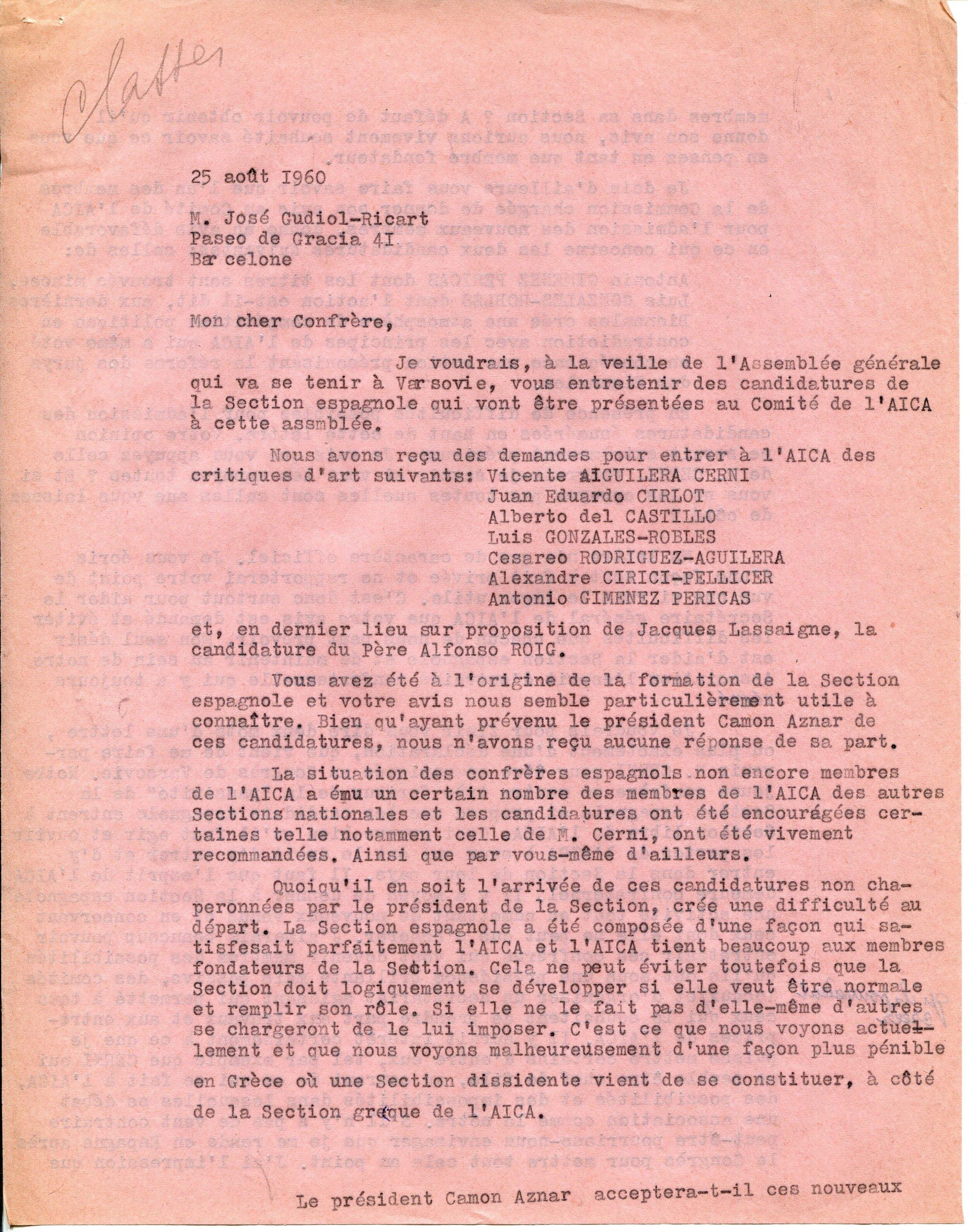 Lettre de Simone Gille-Delafon à José Gudiol-Ricart, 3 pages, 25 août 1960, fonds AICA International [FR ACA AICAI THE ADM 08/32], collection INHA – Archives de la critique d'art. D.R.