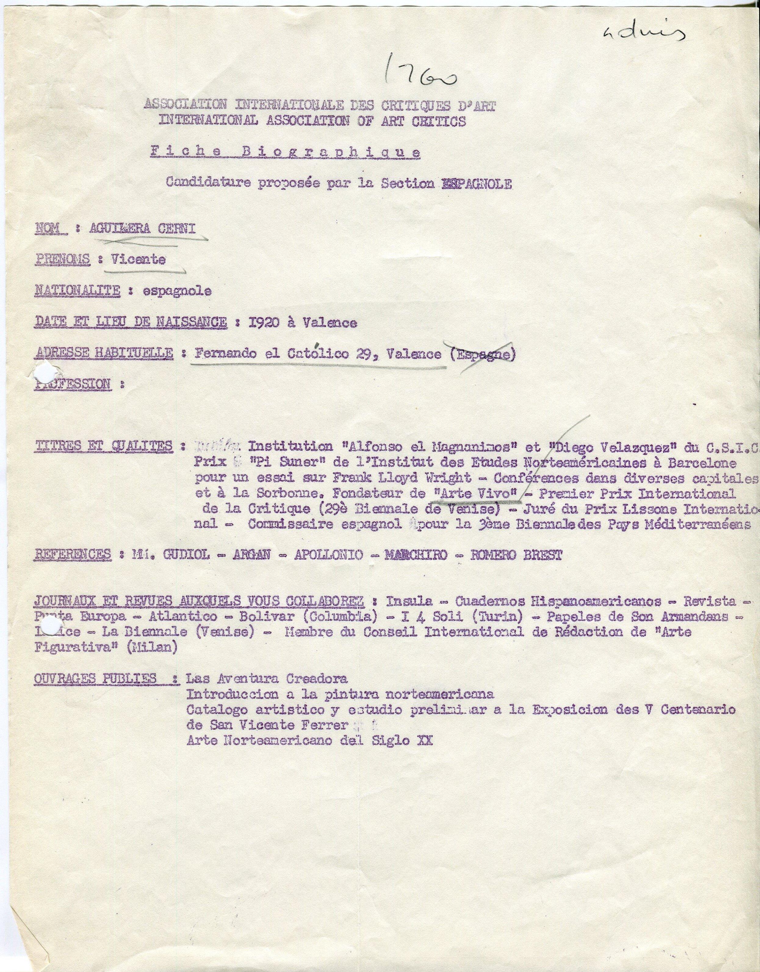 Fiche biographique de candidature à l'AICA de Vicente Aguilera Cerni, 1960, fonds AICA International [FRACA AICAI THE ADM 08/32], collection INHA – Archives de la critique d'art. D.R.