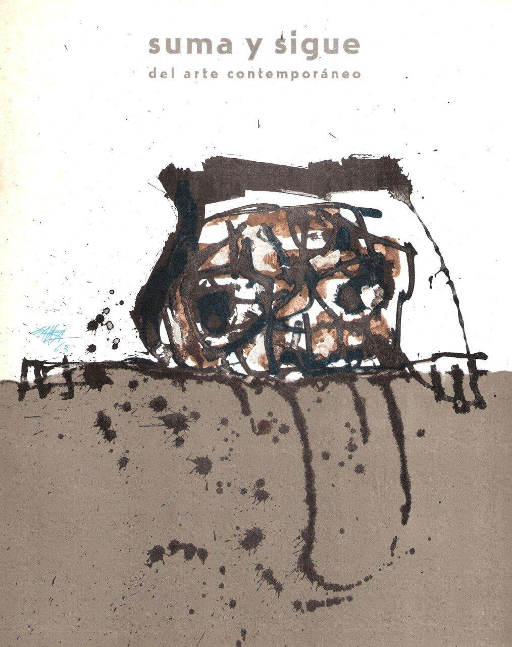 Œuvre d'Antonio Saura en couverture de  Suma y sigue del arte contemporáneo , Valence, janvier-mars 1963, collection privée. D.R.