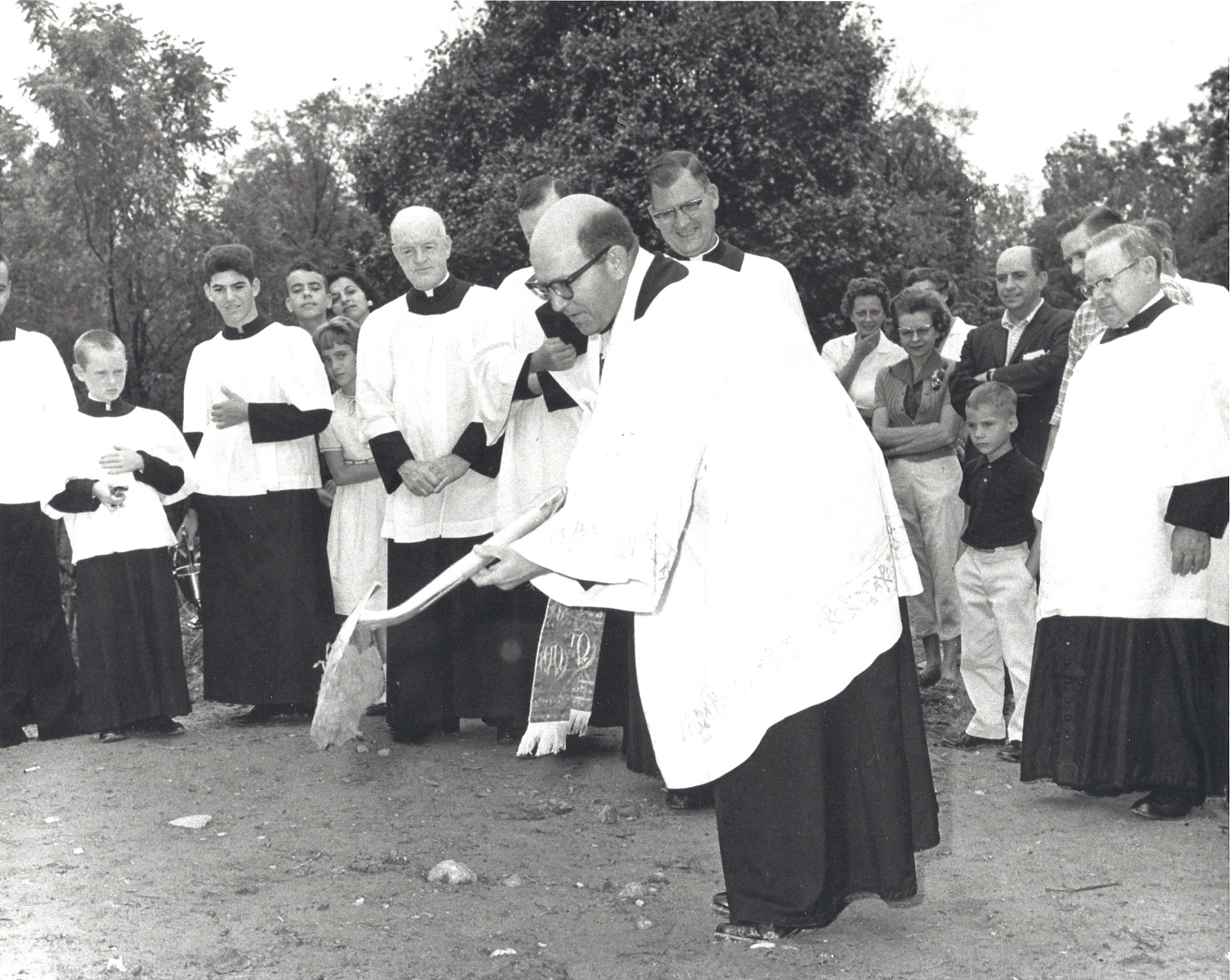 Father Winkler broke ground September 2, 1962, for St. Timothy's first and largest building. - The construction site was a hillside overlooking a meandering stream known as Turkey Run.
