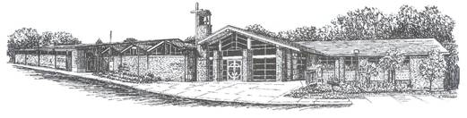 "Building plans called for a ""temporary"" church and sacristy ... Those facilities still exist today. -"