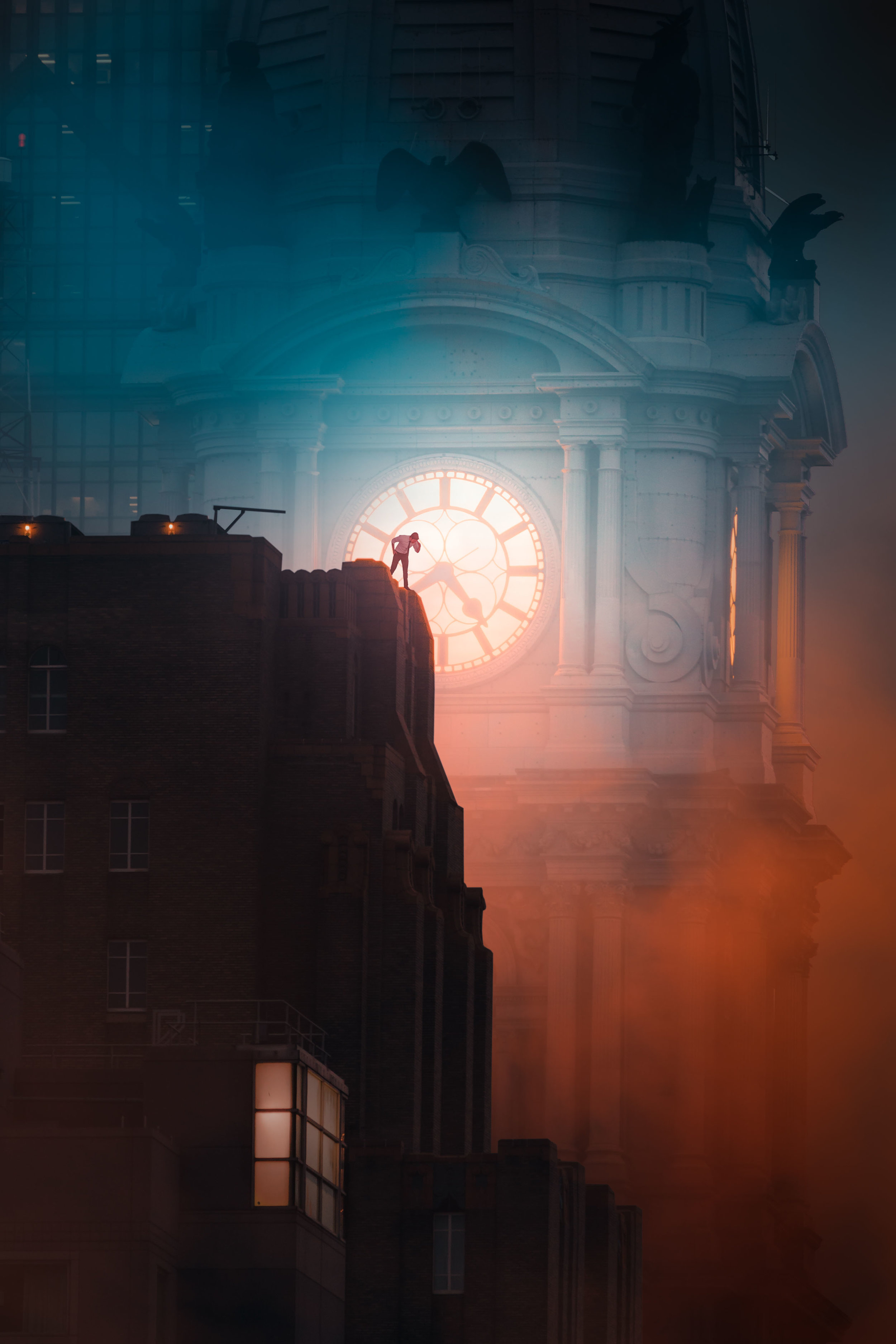 Fantasy Image of the clock tower of Philadelphia City Hall - Hythacg