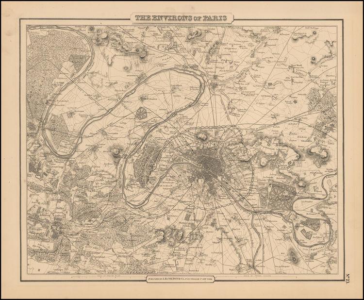 """The Environs of Paris"" Colton. 1856"