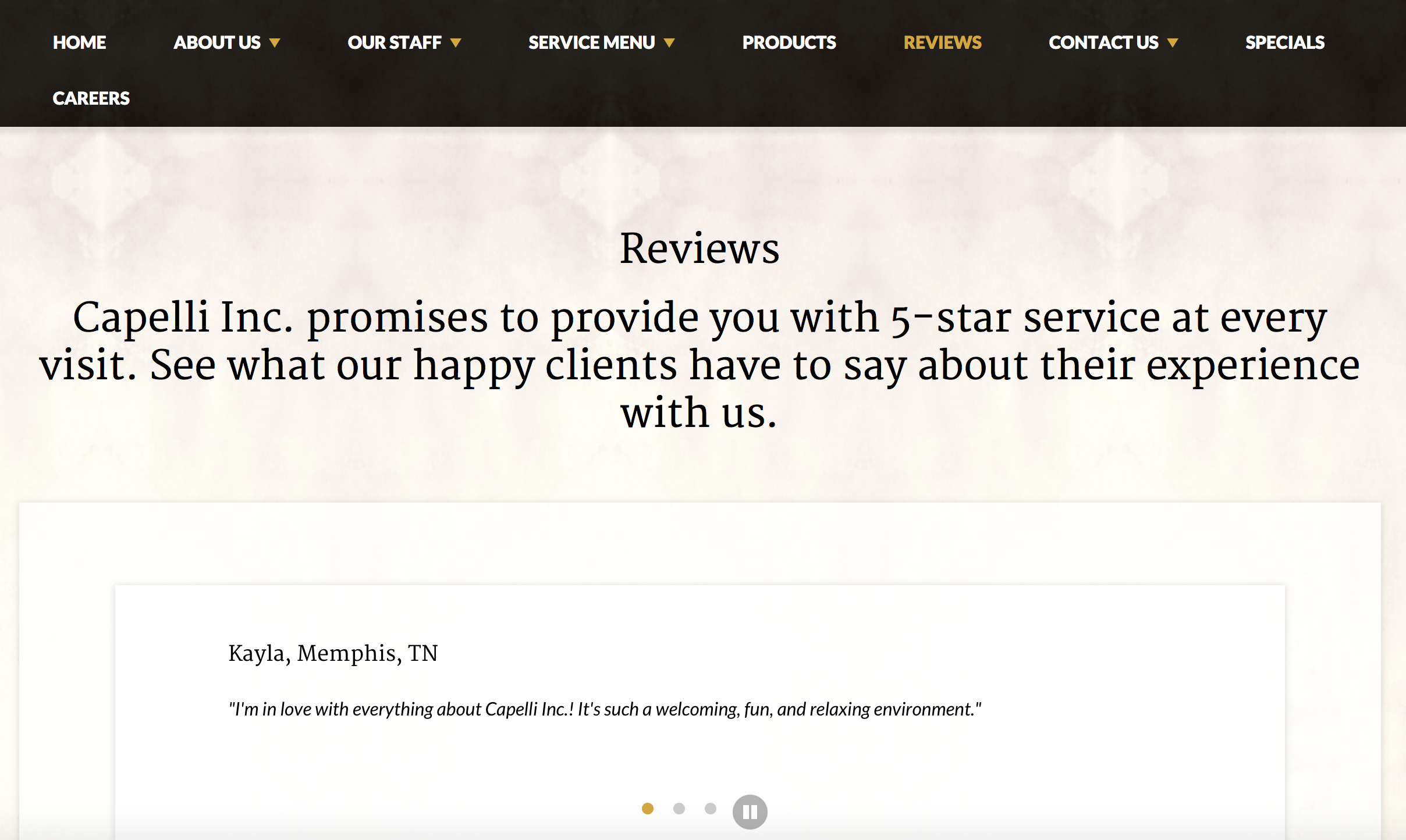 Memphis salon,  Capelli Inc. , does a great job showcasing their reviews on their website!