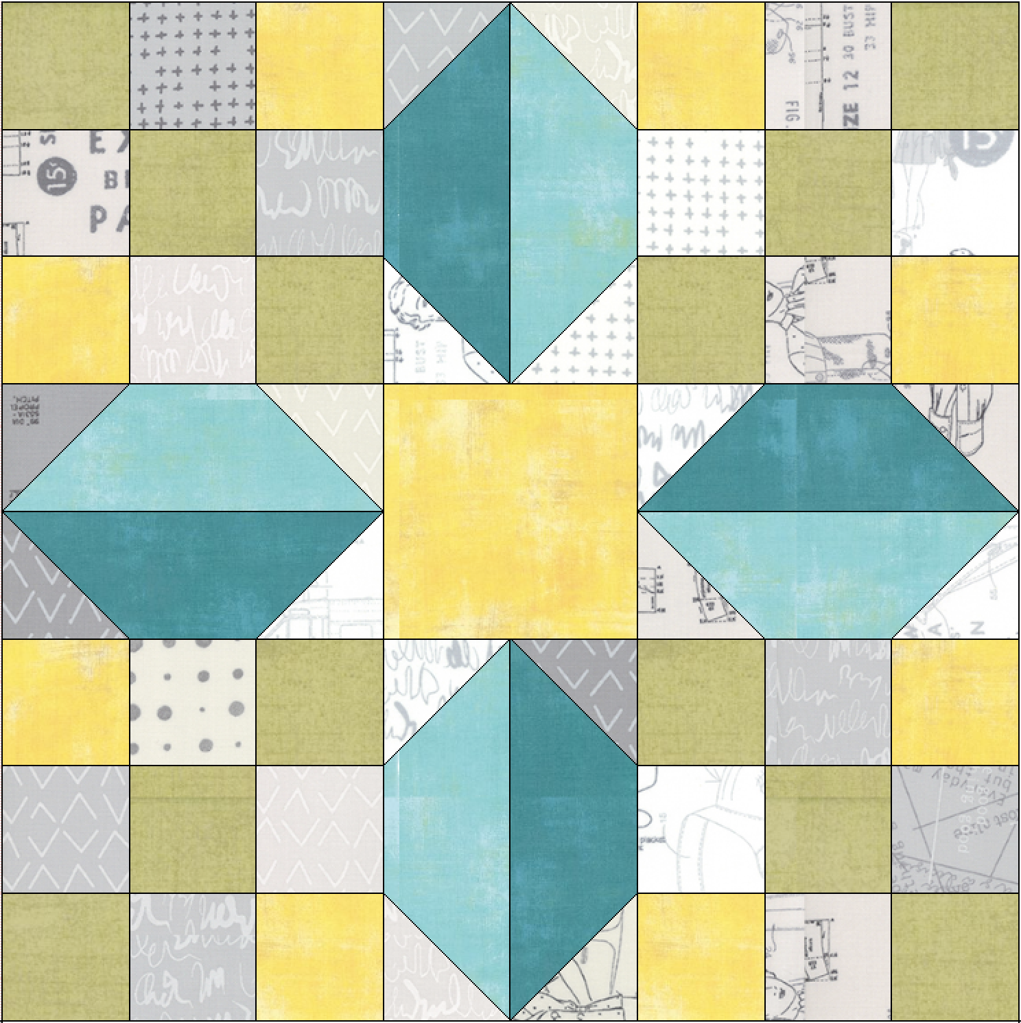 Free quilt along Blockheads 2018, Block 1: Stellar Star Fabrics used in the block are from Moda, Basic Grey GRUNGE and Zen Chic MORE PAPER