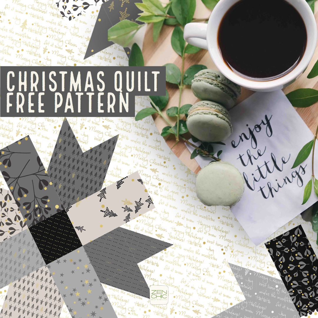 WHITE CHRISTMAS fabrics have hit stores these days and to inspire you I created this free pattern.