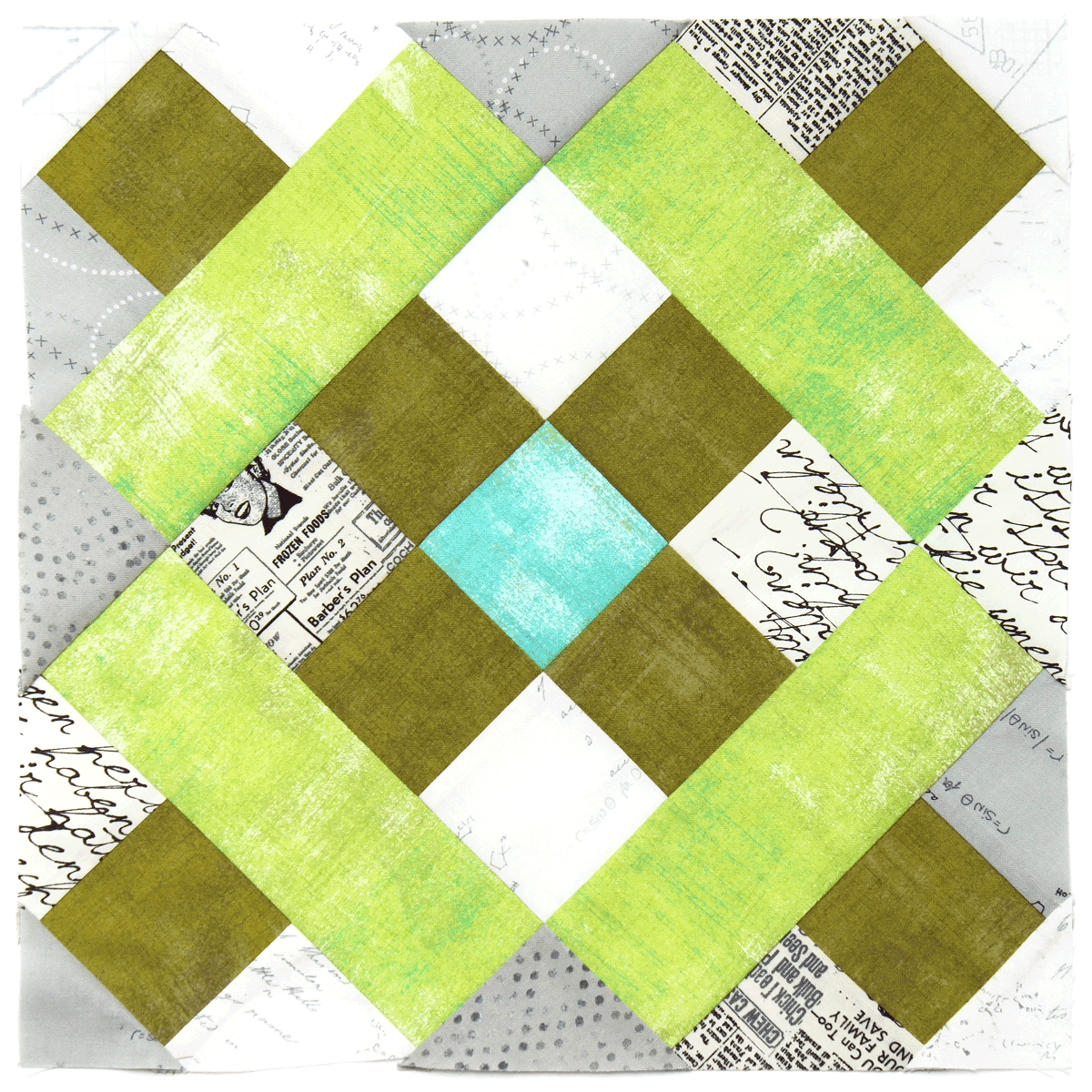 Free quilt along Blockheads 2018, Block 4: Roman Cross Fabrics used in the block are from Moda, Basic Grey GRUNGE and Zen Chic PAPER