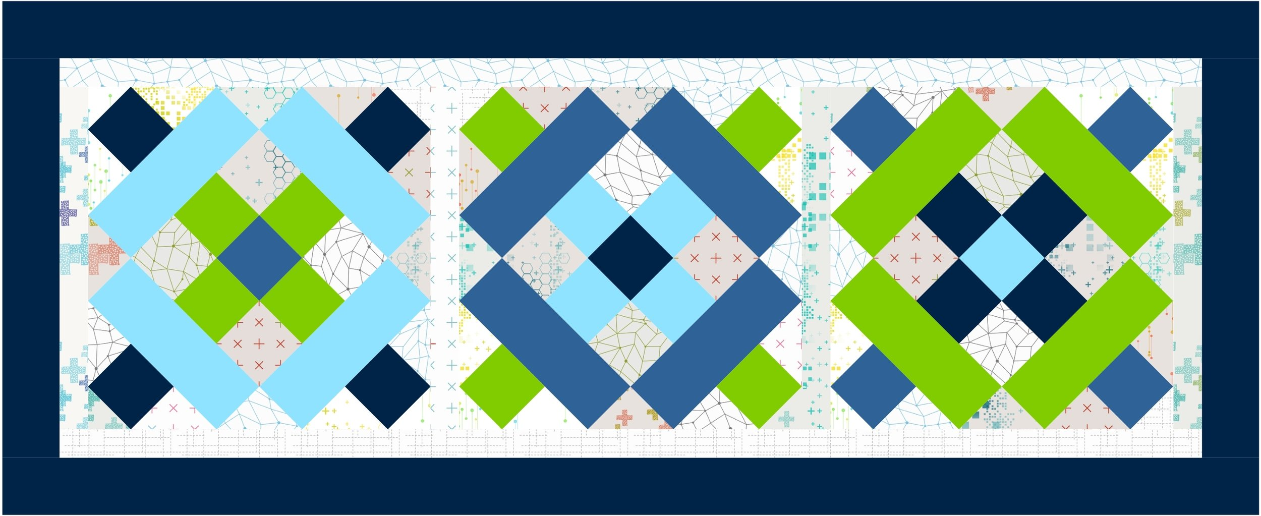 Using Block No 4 from Moda Blockheads 2018, Bella Solids and Zen Chic Colorbox a setting of three blocks makes for a cute table runner