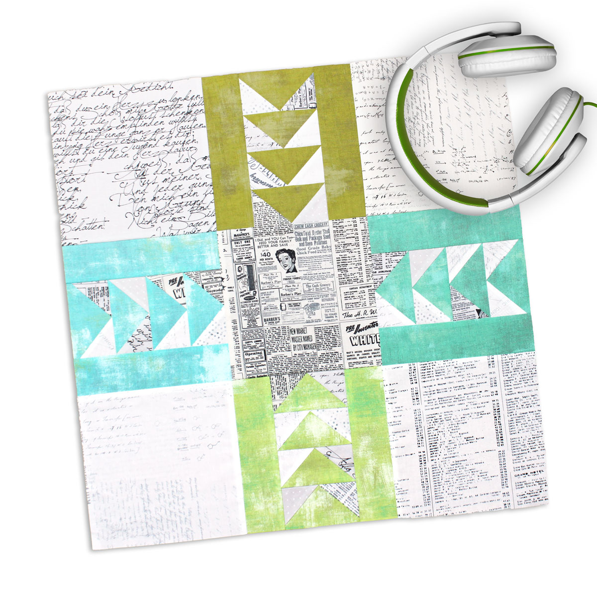 Free quilt along Blockheads 2018, Block 5: Impact Fabrics used in the block are from Moda, Basic Grey GRUNGE and Zen Chic PAPER