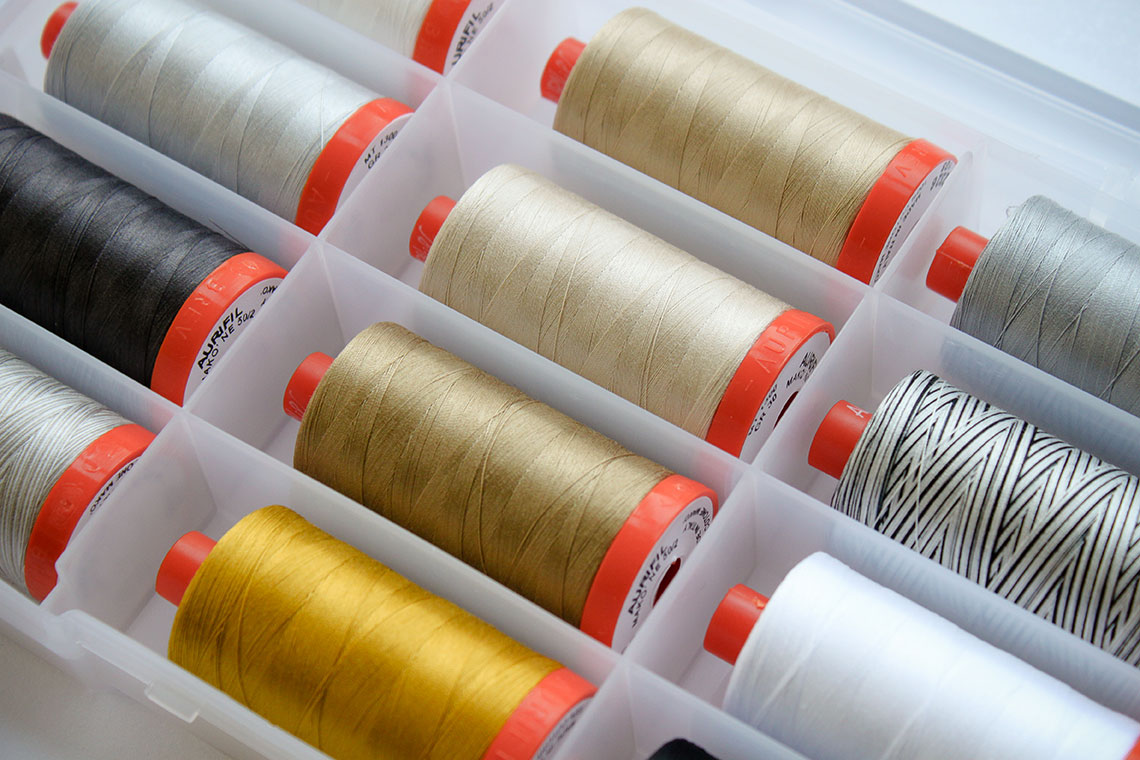 Aurifil Thread Box featuring White Christmas select by Zen Chic
