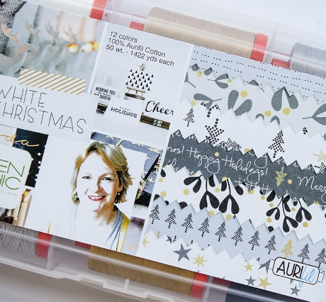 Thread box from Aurifil matching the White Christmas collection by Zen Chic for Moda.