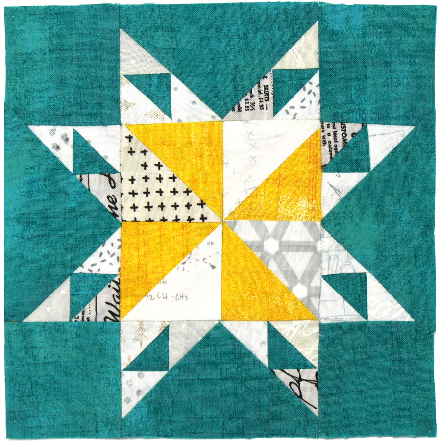 Free quilt along Blockheads 2018, Block 12: Jace's Star Fabrics used in the block are from Moda, Basic Grey GRUNGE and Zen Chic PAPER and MORE PAPER