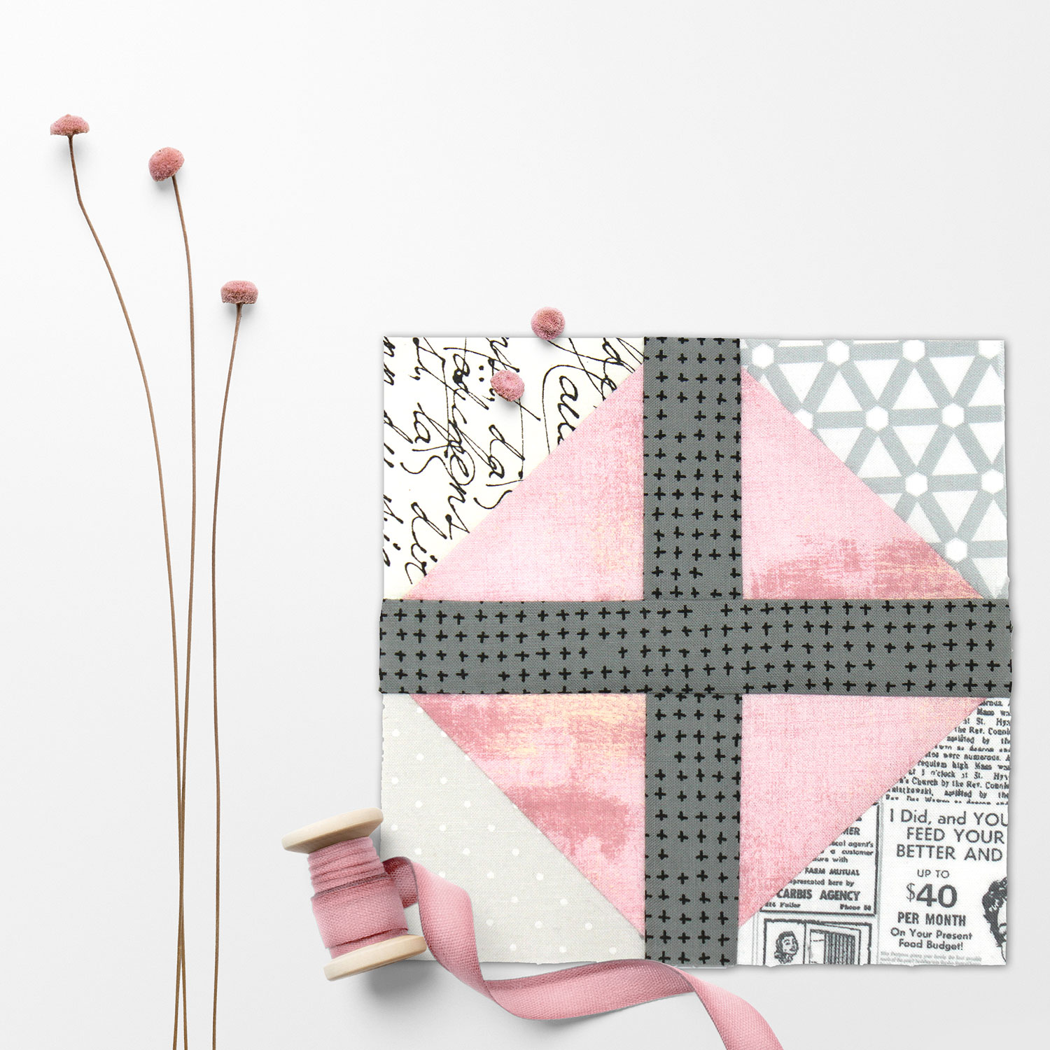 Free quilt along Blockheads 2018, Block 16: Texas Puzzle Fabrics used in the block are from Moda, Basic Grey GRUNGE and Zen Chic PAPER and MORE PAPER