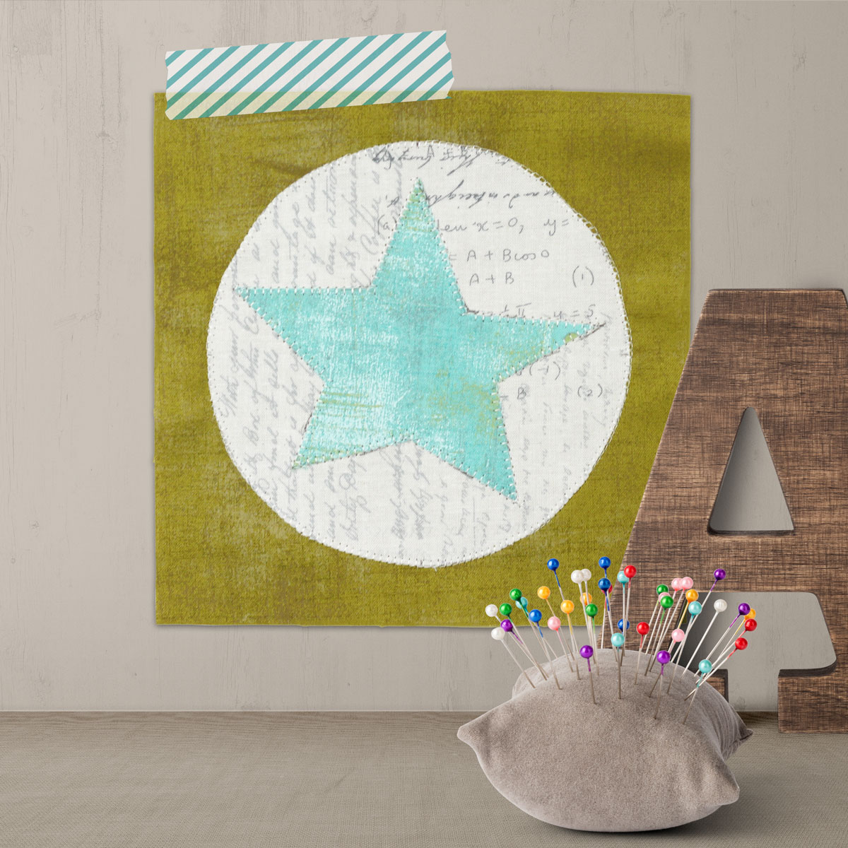 Free quilt along Blockheads 2018, Block 21: Circle and Star Fabrics used in the block are from Moda, Basic Grey GRUNGE and Zen Chic PAPER