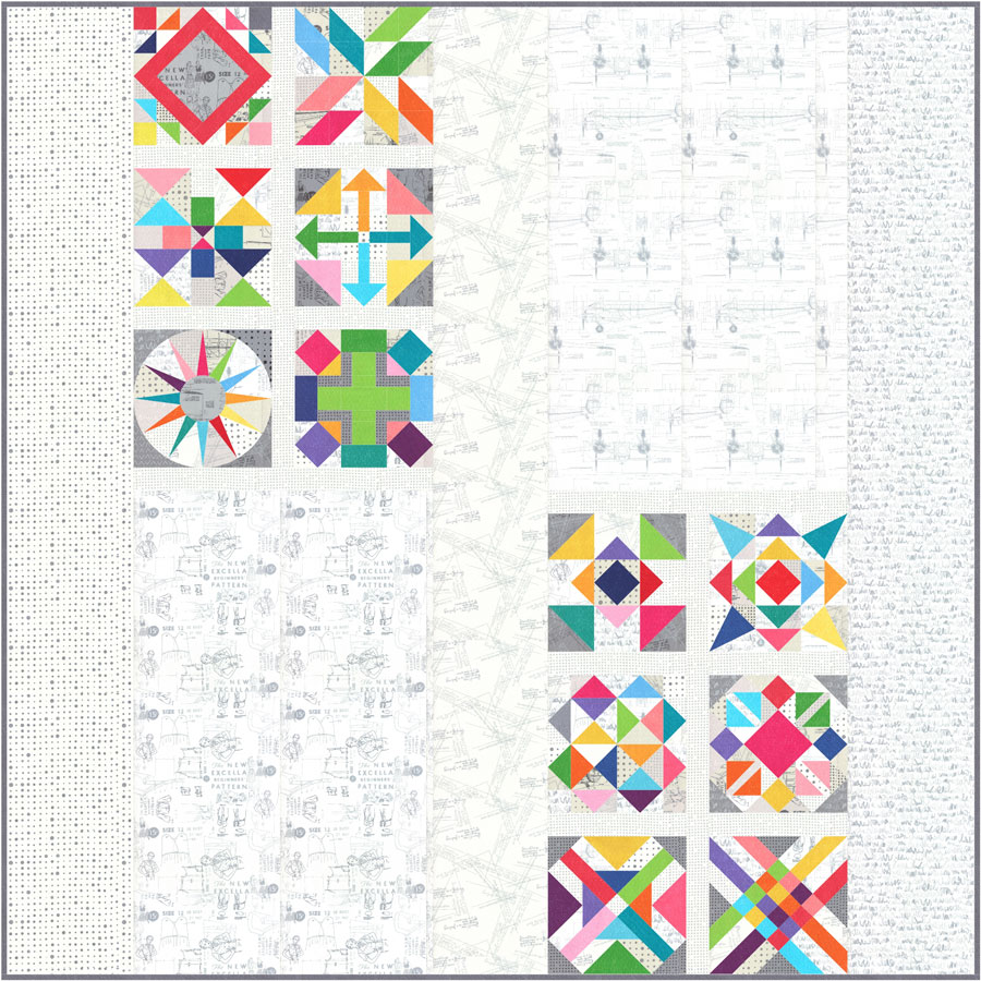 """SPOTTED MORE PAPER, Zen Chic Block of the Month quilt pattern 2018 (85"""" x 85"""") Fabrics used in the block are from Moda, Zen Chic SPOTTED and MORE PAPER"""