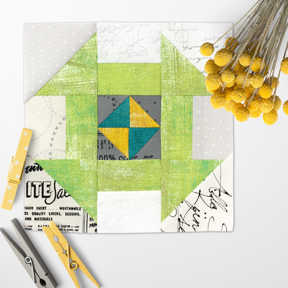 Free quilt along Blockheads 2018, Block 26: Churndash Surprise Fabrics used in the block are from Moda, Basic Grey GRUNGE and Zen Chic PAPER
