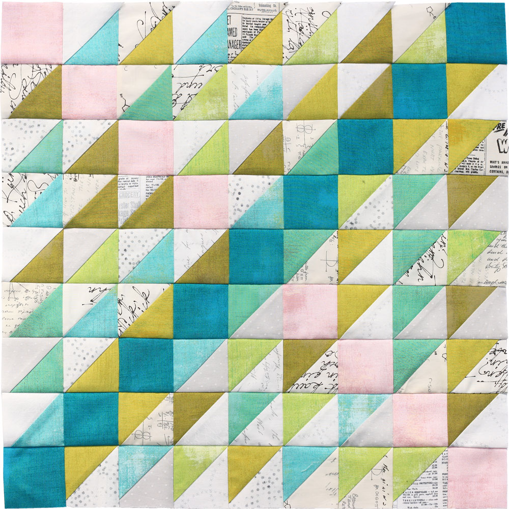 Free quilt along Blockheads 2018, Block 27: Mountain Climbing Fabrics used in the block are from Moda, Basic Grey GRUNGE and Zen Chic PAPER