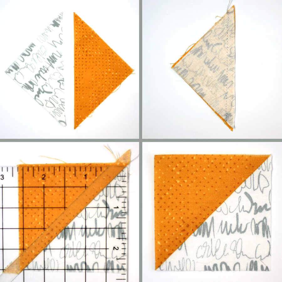 Trim off your slightly oversized half square triangles to a perfect size.