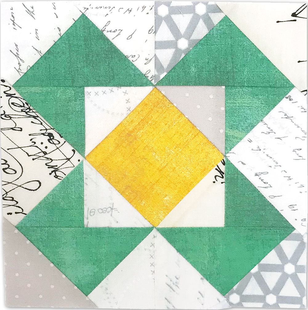Free quilt along Blockheads 2018, Block 43: Mosaic Fabrics used in the block are from Moda, Basic Grey GRUNGE and Zen Chic PAPER