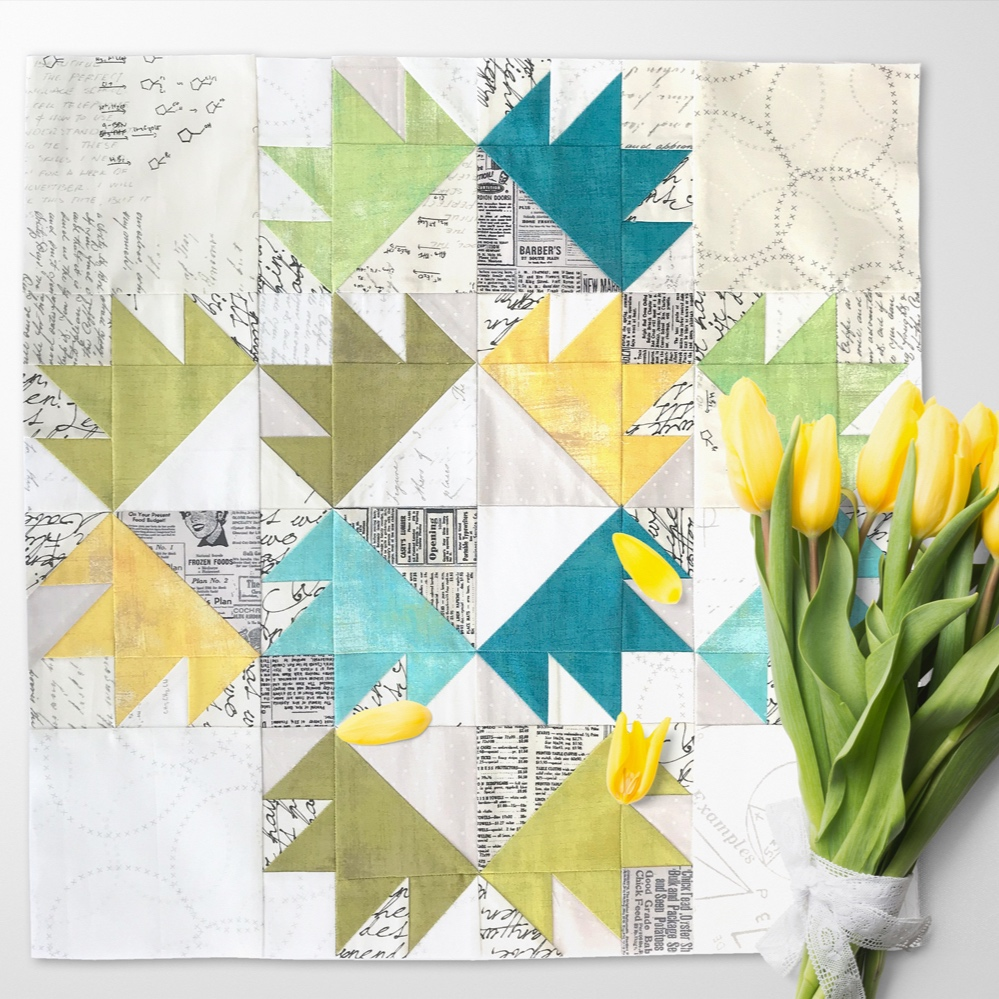 Free quilt along Blockheads 2018, Block 45: Twelve Crowns Fabrics used in the block are from Moda, Basic Grey GRUNGE and Zen Chic PAPER