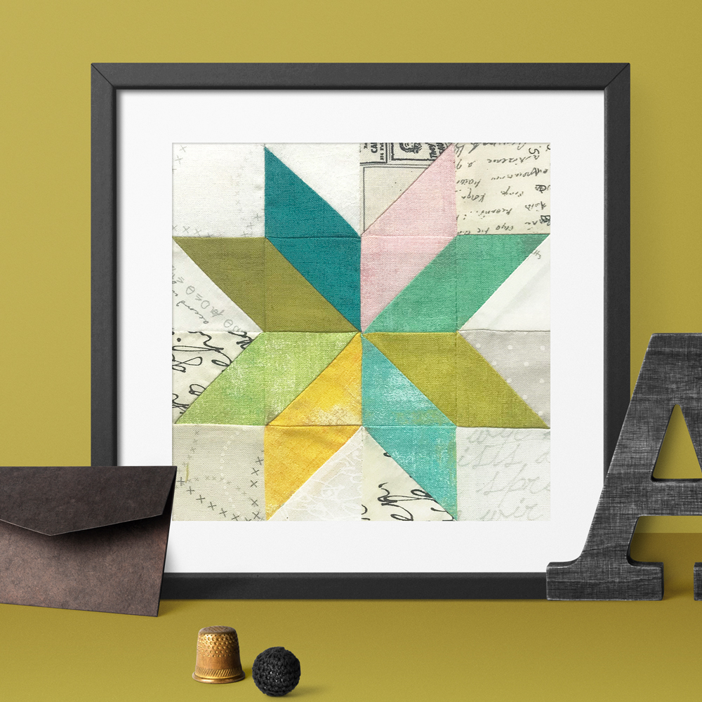 Free quilt along Blockheads 2018, Block 46: On Point Star Fabrics used in the block are from Moda, Basic Grey GRUNGE and Zen Chic PAPER