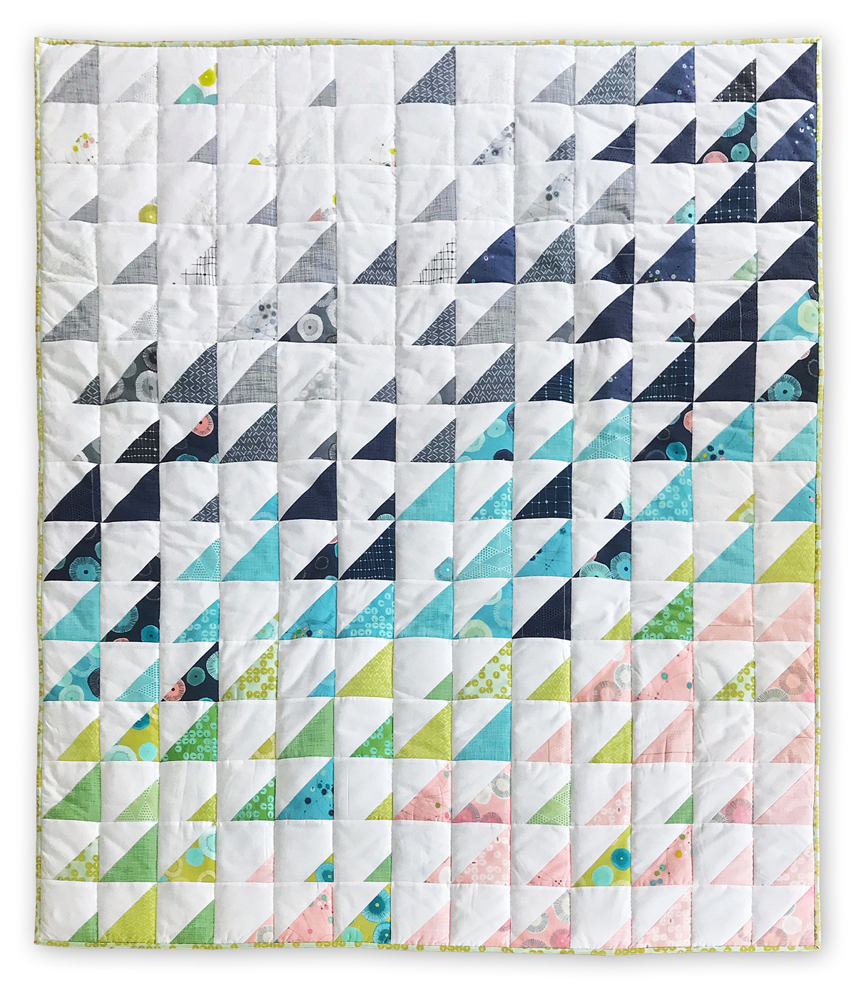 Create this fresh, stunning Prism quilt with the Day in Paris fabric line from Zen Chic using a free pattern from Purl Soho.