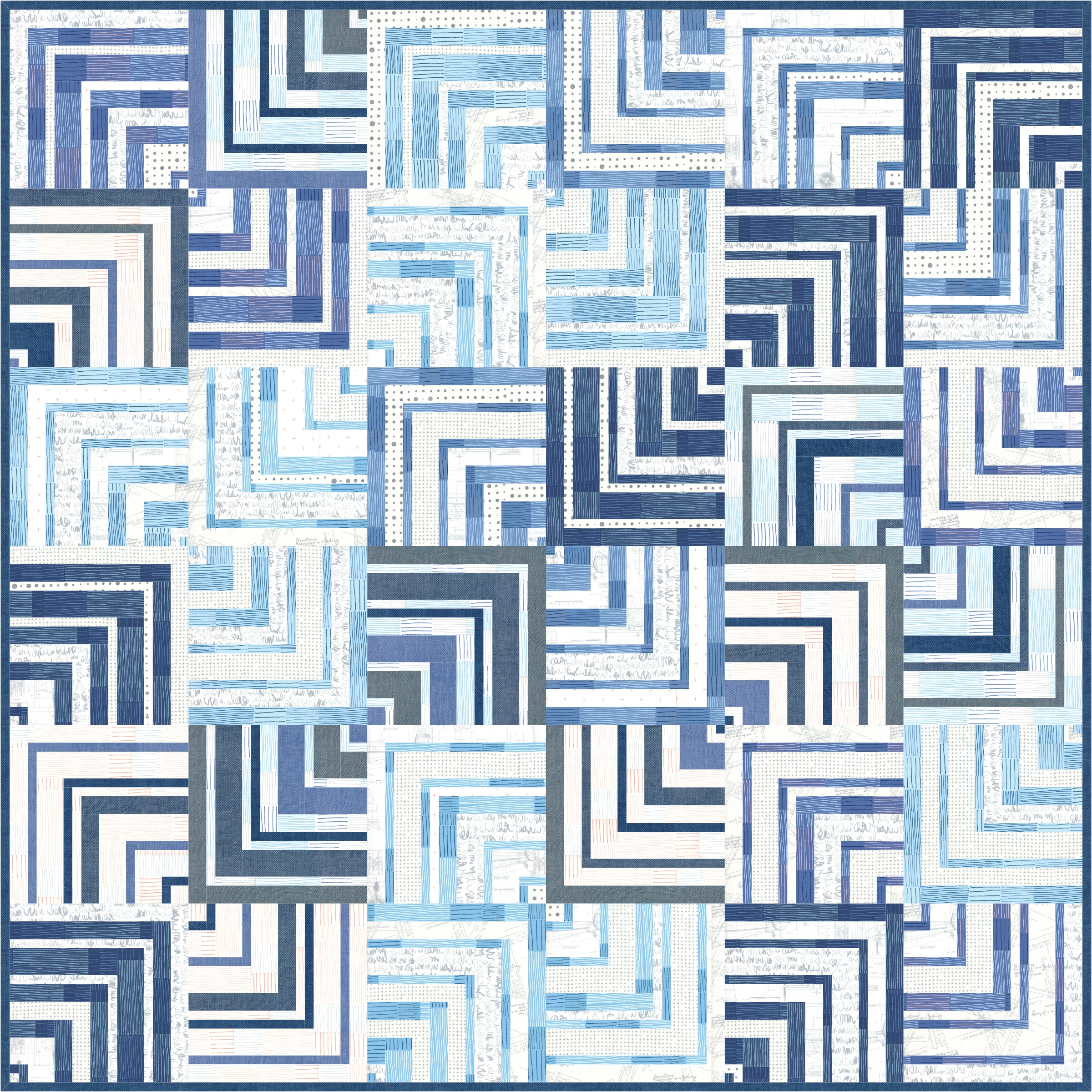The Blue Labyrinth quilt pattern from Zen Chic is the perfect opportunity to combine the beautiful blue tones, crisp whites, and intriguing patterns of the newest fabric collection Breeze.