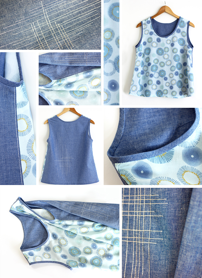 The soft fabric of Rayon by Zen Chic is perfect for creating clothes with a flattering drape and beautiful feel. Combine it with denim (Moda Chambray) for that special something. ( Free pattern SORBETTO from Colette )