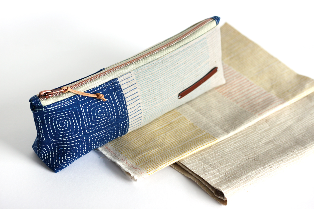 The neutral tones and exciting heavy textures of Mochi Linen by Zen Chic make it a perfect choice for home decor and accessory projects like handbags and this pencil case. ( Free pattern Canvas Pencil Pouch from Noodlehead )
