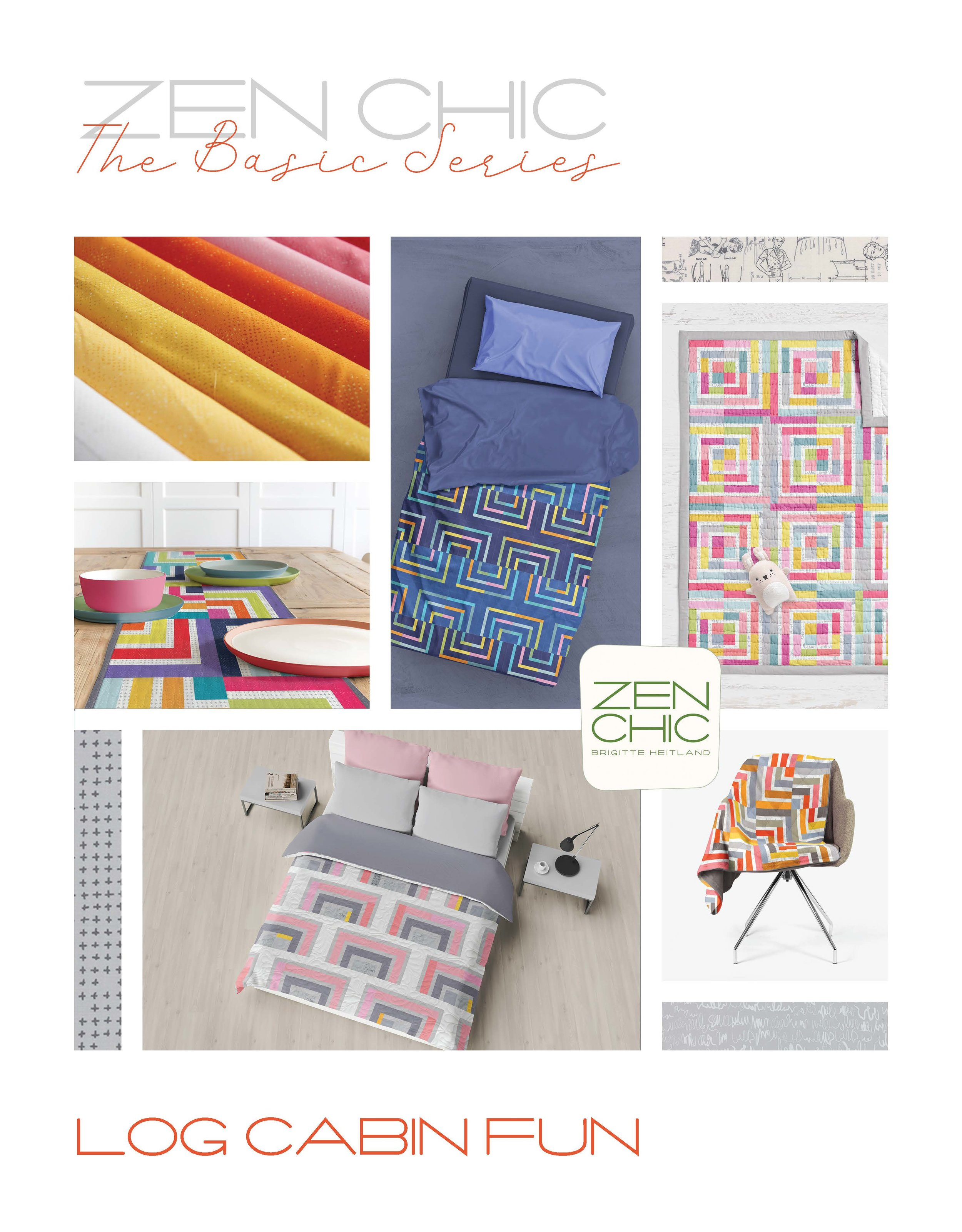 The Log Cabin Fun pattern from Zen Chic's Basic Series offers five inspiring projects in one beautiful booklet style pattern.