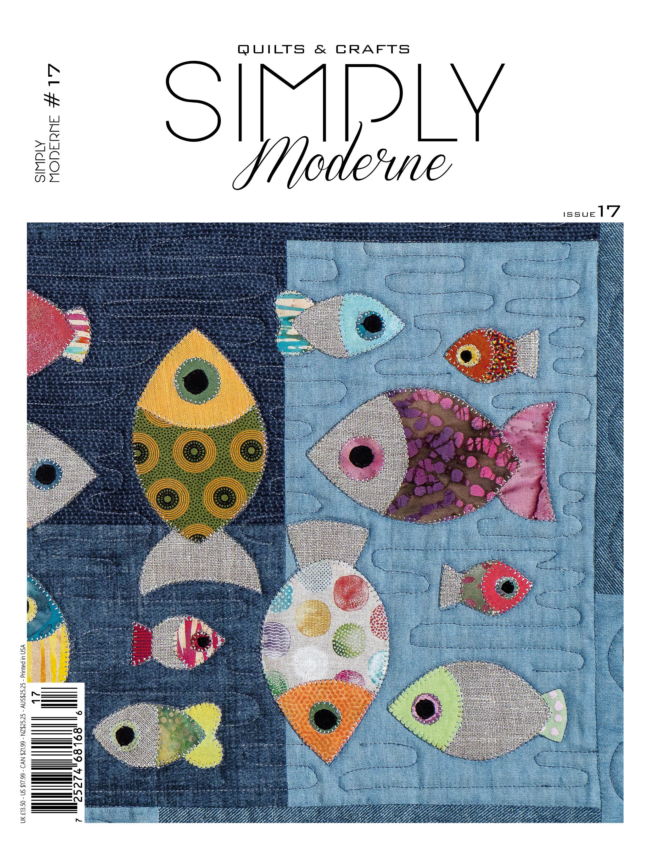 Simply Moderne issue number 17, featuring Zen Chic's contribution, the DELIGHT quilt pattern and several other inspiring, stunning projects from talented designers.