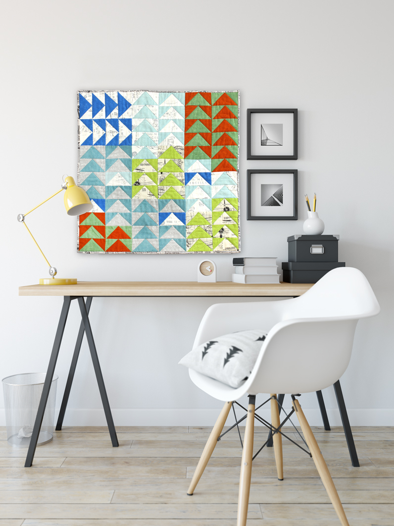 The new colors added to Zen Chic's Spotted fabric line, combined with the More Paper collection bring Purl Soho's free mini quilt pattern to life.