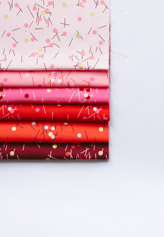 Small splashes of gold add an elegant dynamic to Zen Chic's newest fabric line Just Red.