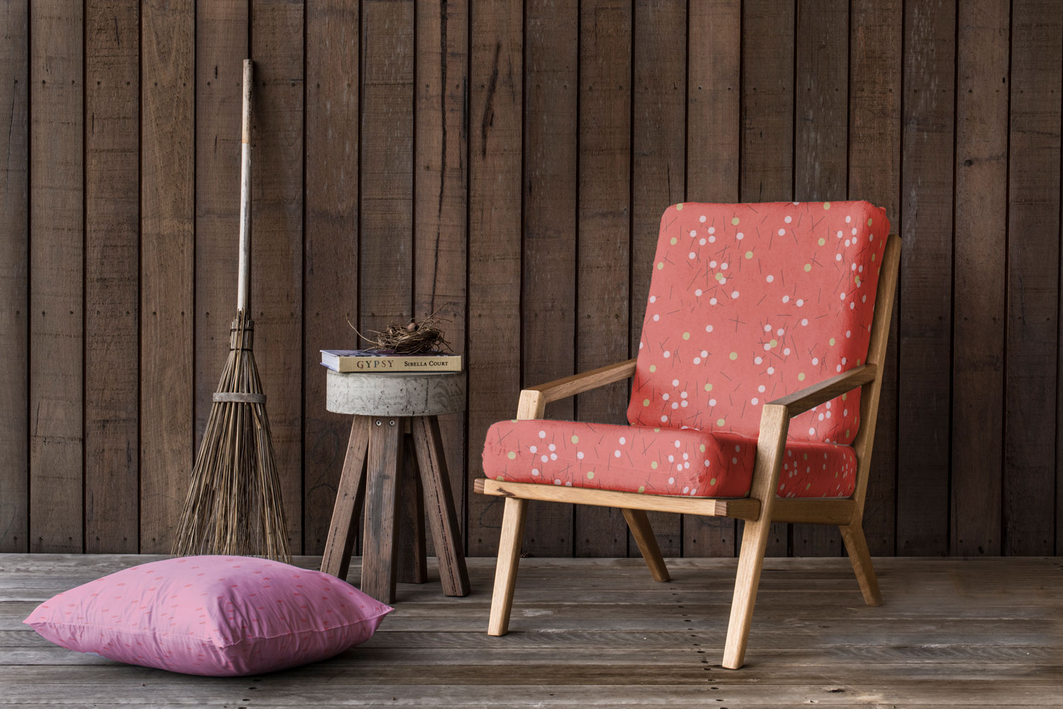 There are endless possibilities with Zen Chic's Just Red fabric collection, like this stylish upholstered armchair.