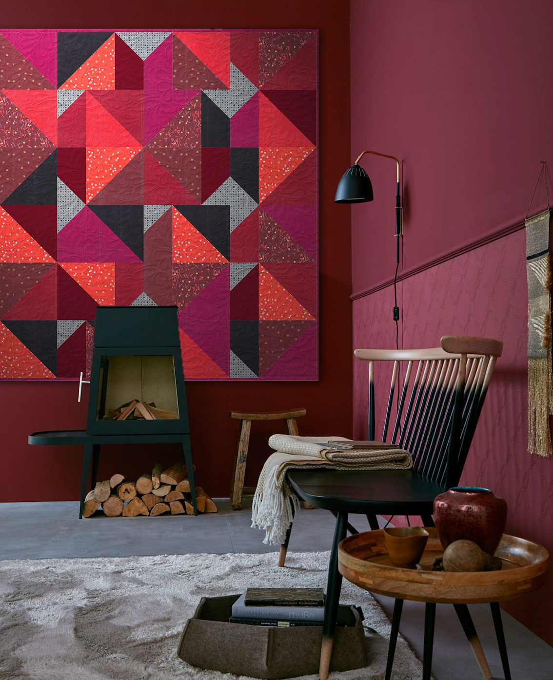 Zen Chic's Peaks pattern is a great opportunity to show off the depth and diversity of the Just Red fabric line.