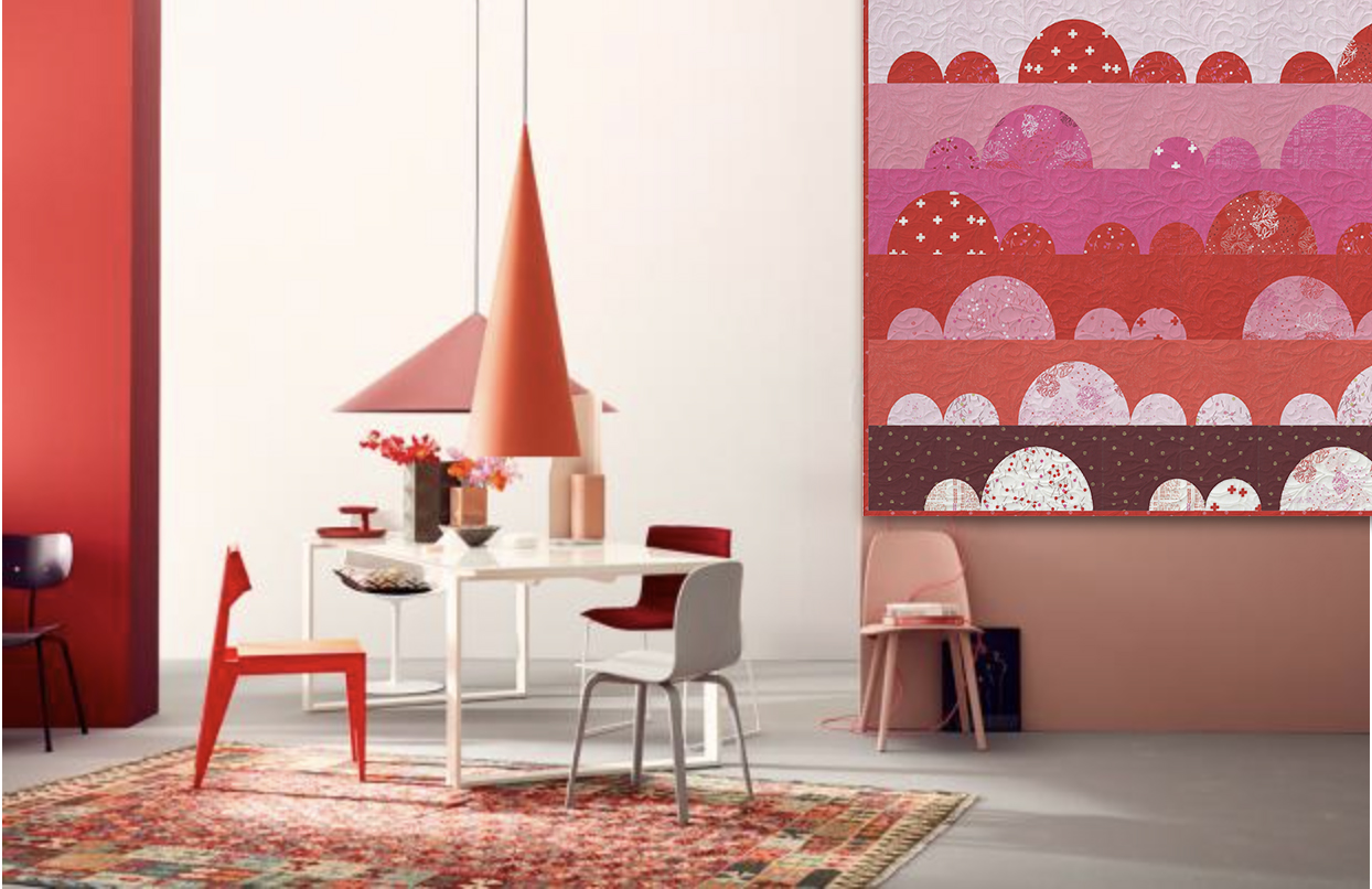 The Rising quilt pattern from Zen Chic is a playful, fun way to display the Just Red fabric collection.