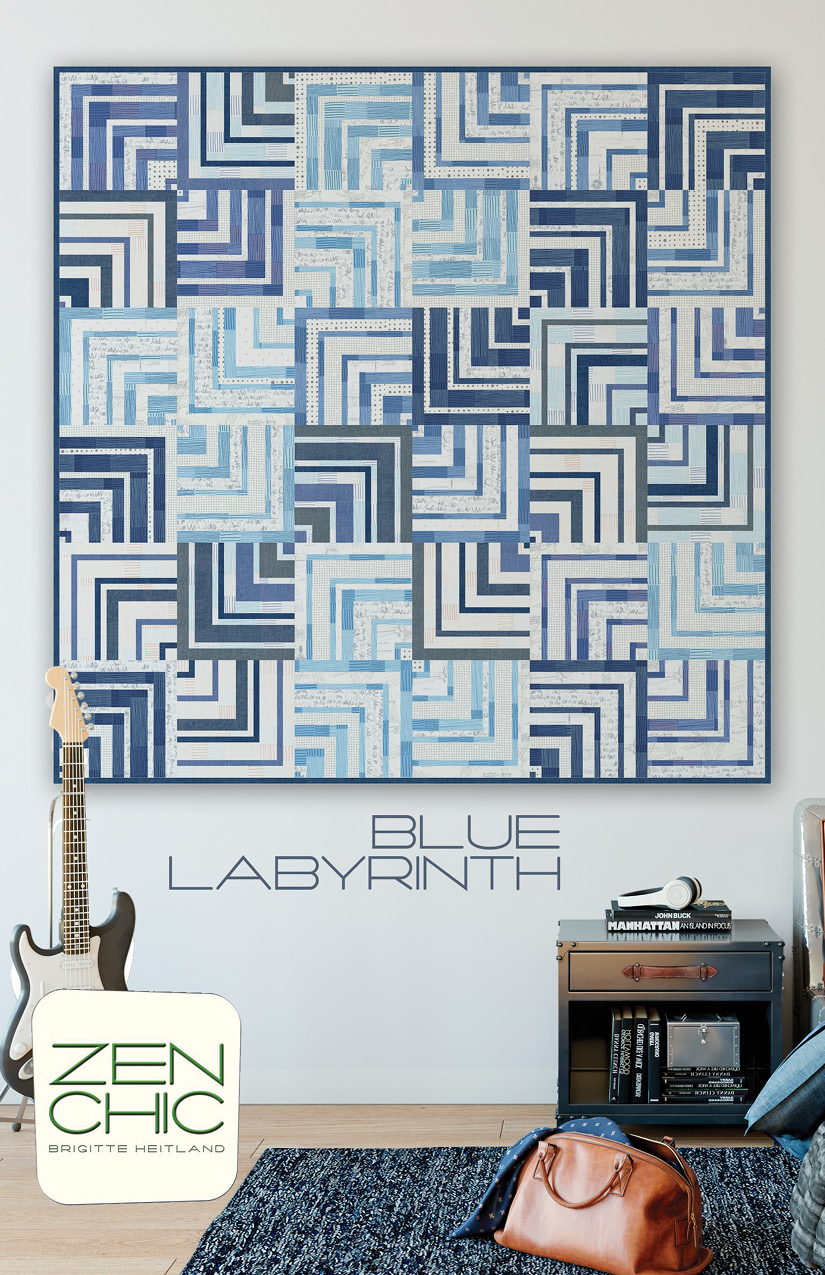 The Blue Labyrinth quilt pattern from Zen Chic is an innovative modern variation of a classic quarter log cabin.