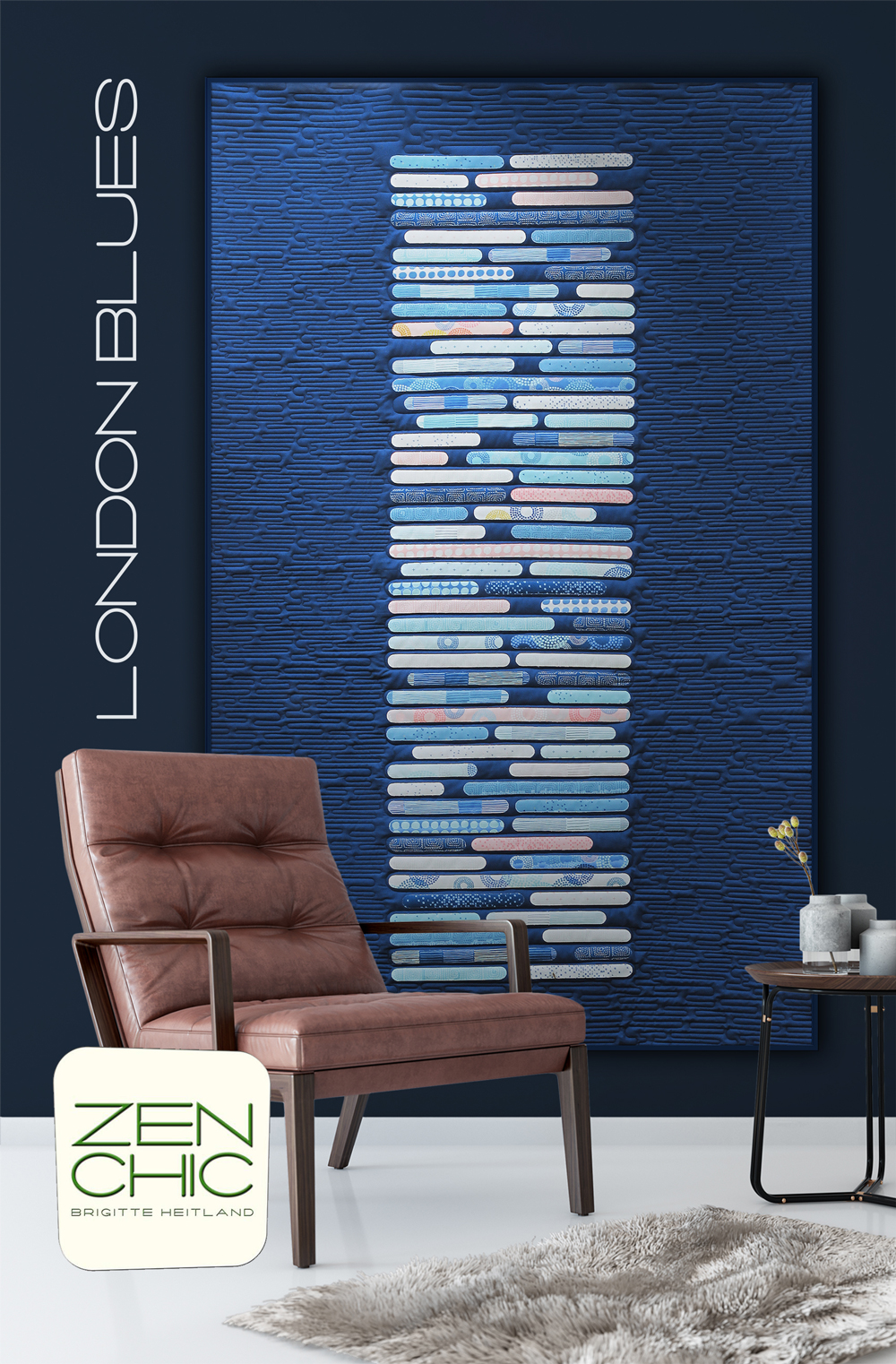 The youthful, classy look of the London Blues quilt pattern from Zen Chic featuring the BREEZE fabric collection makes a stunning addition to any room.