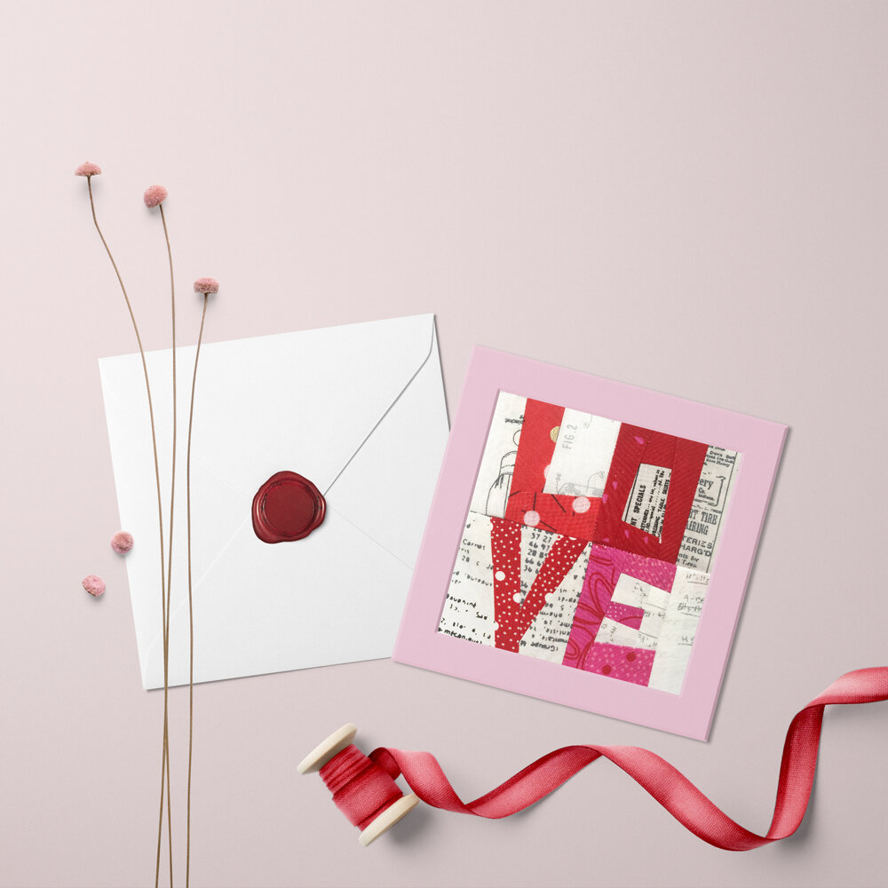 Zen Chic brings you a mini version of Block 5 in the Moda Blockheads 3 free year long sew along, using the Just Red and More Paper fabric collections. This lettered quilt block makes for a perfect Valentine project.