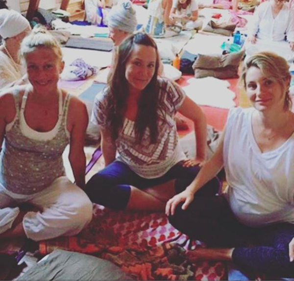 On my pregnancy yoga training (far right)