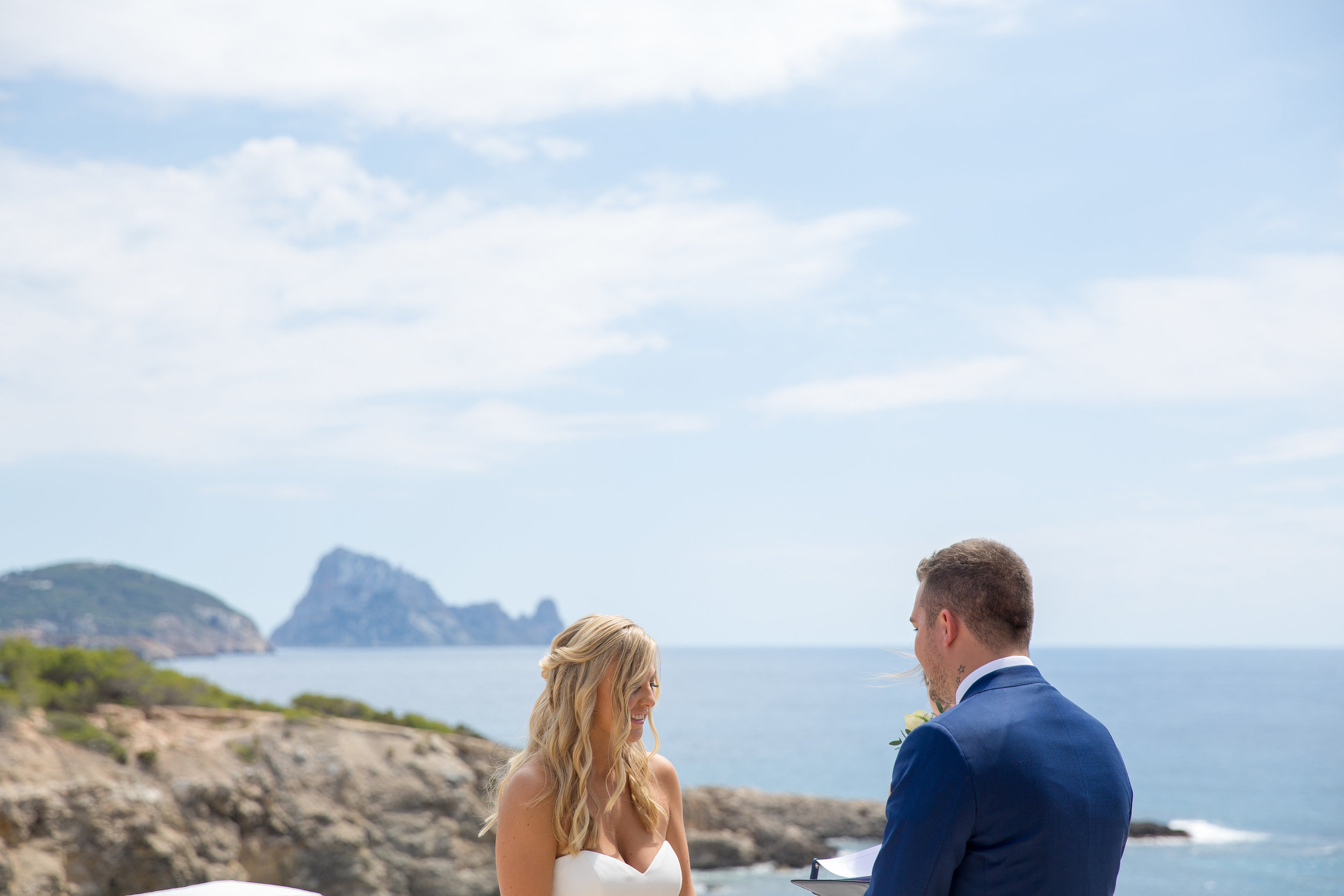 Bride and Groom exchanging vows at Elixir, Ibiza. Photo by Matt Morgan