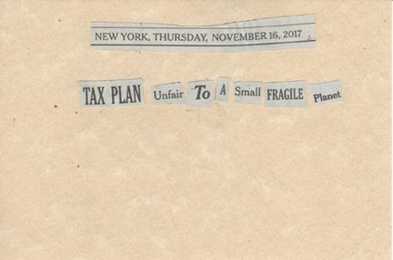 November 16, 2017, Tax Plan Unfair to a Small Fragile Planet SMFL.jpg