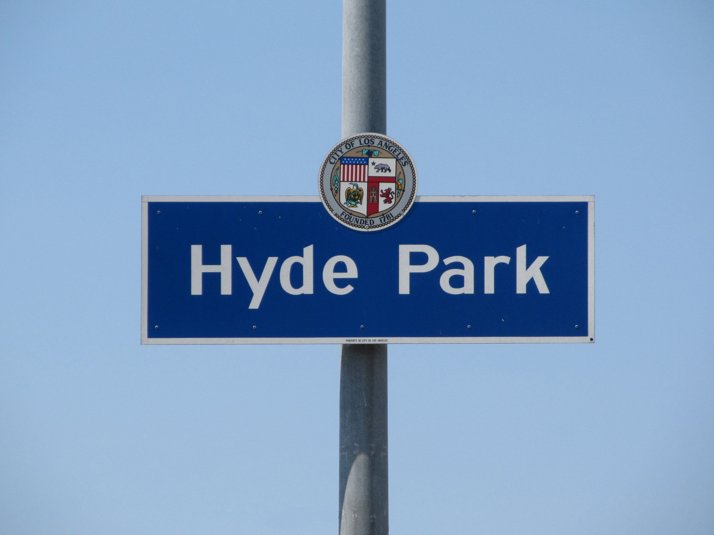 """Hyde Park   Hyde Park is one of the oldest neighborhoods in the city of Los Angeles. It was """"laid out as a town"""" in 1887 as a stop on the Atchison, Topeka and Santa Fe Railway's Harbor Subdivision, which ran from Downtown Los Angeles to the port at Wilmington in a westward loop. It was incorporated as a city in 1922 and had its own government. However, on May 17, 1923, its 1.2 square miles was consolidated with the larger city of Los Angeles after a favorable vote by Hyde Park residents. The city of Hyde Park is bordered by 60th Street on the north, Van Ness (now 8th) Avenue on the east,Florence Avenue on the south, and West Boulevard on the west."""