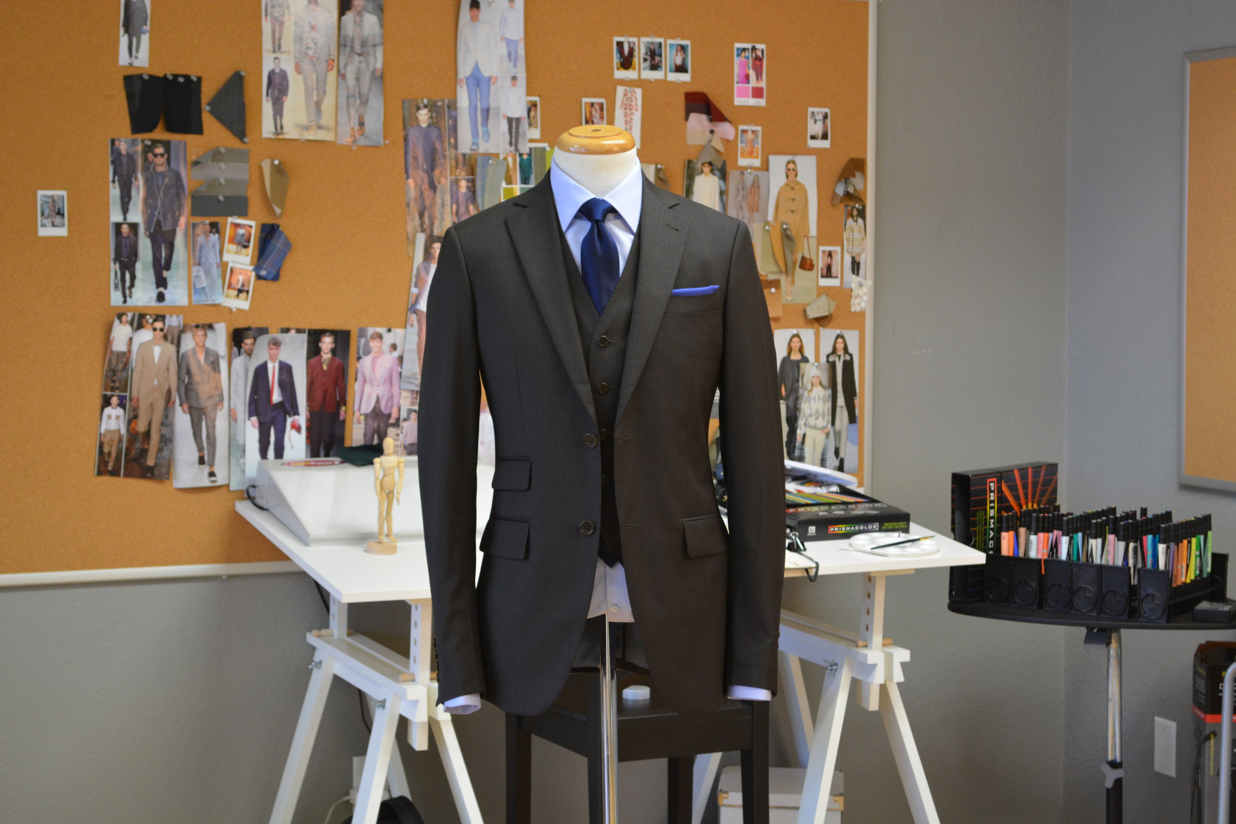 A great custom suit is a combination of artistry in pattern making, skill of tailoring and creative design.