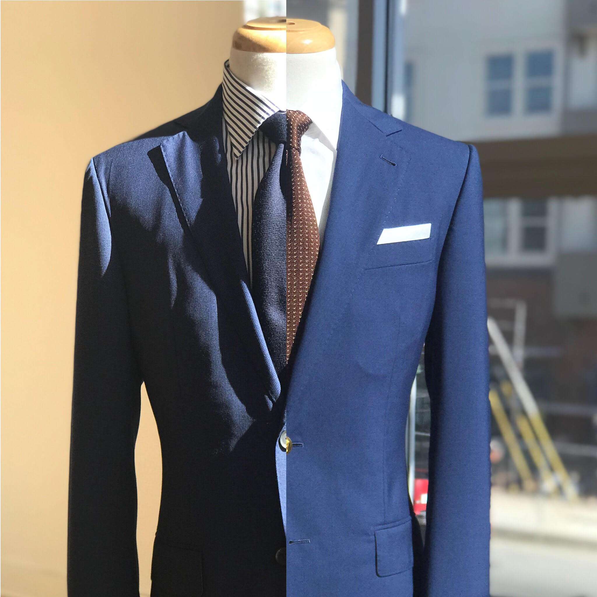 """the difference between a suit cut with """"natural"""" shoulder vs """"roped"""" shoulders"""