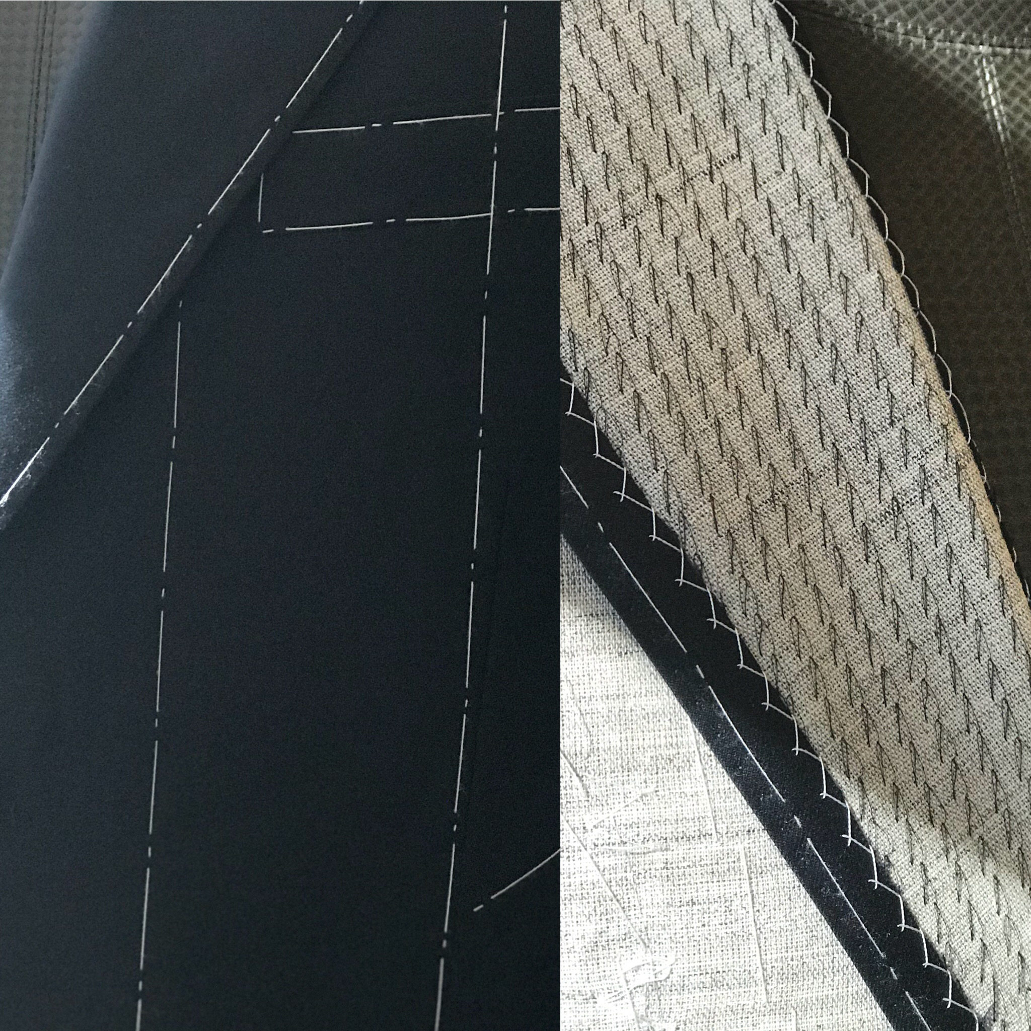 Left: Close up of temporary basting stitches used to hold canvas in place during production. Right: Close up of the basting stitches used in the lapel