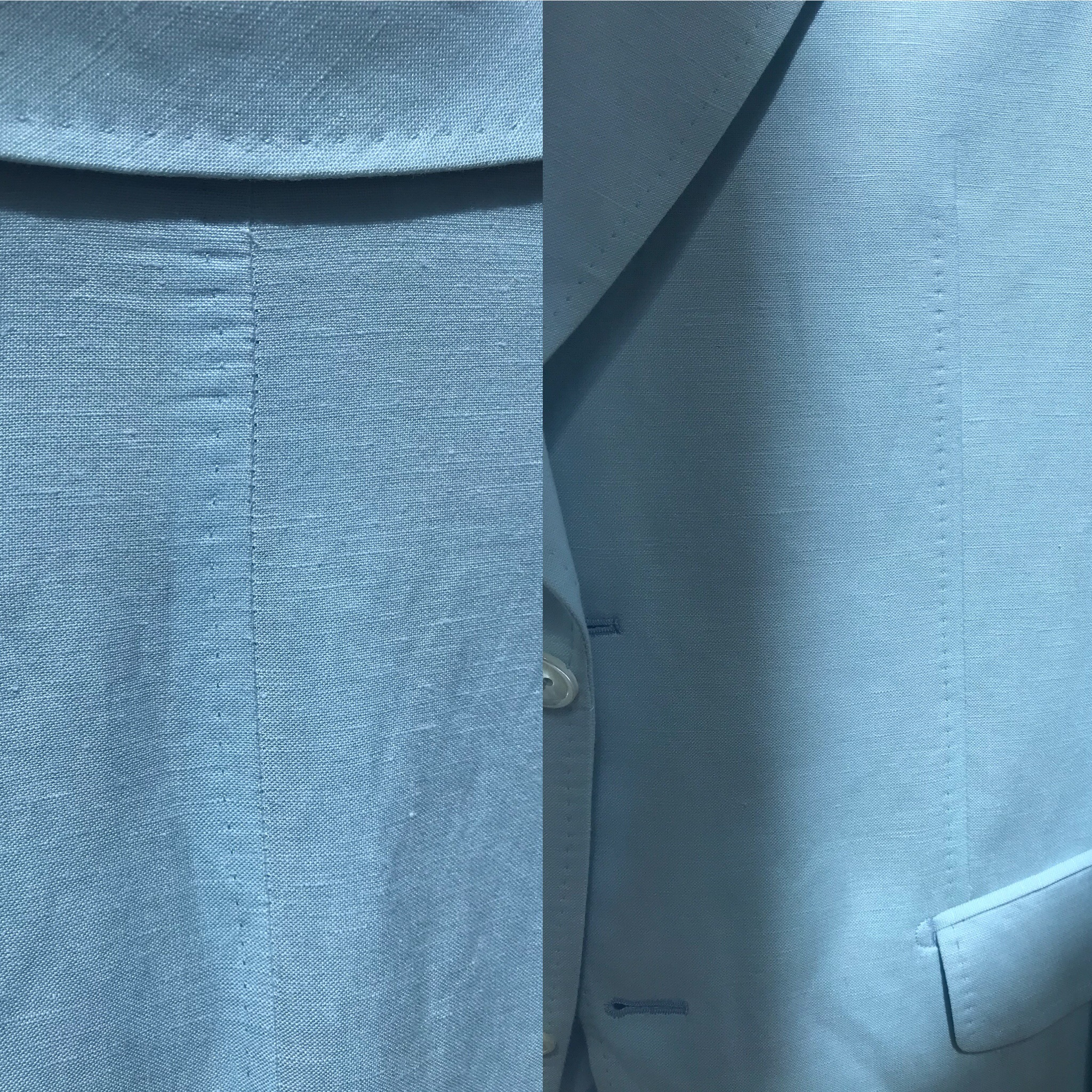 Left: Optional hand pick stitching collar nape and center back back seam. Right: Optional hand pick stitching on waist darts and pockets